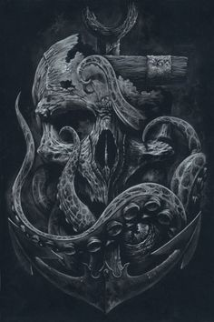 THE LOCKER Custom Print Octopus Skull Anchor Black by grabinkART