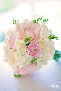 Blush pink and white wedding bouquet (blush pink peonies, light pink ranunculus, David Austin champagne ivory roses, white hydrangeas and white freesia)