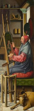 Follower of Quinten Massys: 'Saint Luke painting the Virgin and Child'