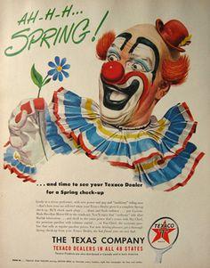 1950 Texaco Gas & Oil Ad ~ Clown Art