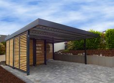 double-abri-voiture-myport-avec-local-technique/ - The world's most private search engine Diy Pergola, White Pergola, Wooden Pergola, Pergola Ideas, Carport Modern, Double Carport, Carport Garage, Steep Backyard, Backyard Sheds
