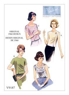 V9187 Vintage 1960s Misses' Jewel or Scoop Neck Princess Seam Tops
