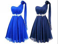 Royal blue Cheap Bridesmaid Dress Dark blue Short Beaded rhinestone Prom Dress Evening Dress One Shoulder Chiffon Ruffle Evening Dress