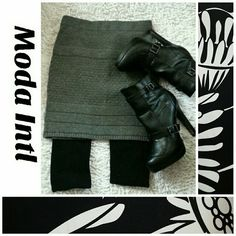 Moda Intl knit Mini Skirt worn twice no snags or shrinkage... acrylic blend perfect with knit legging and moto boot..Boots shown not for sale. Moda International Dresses