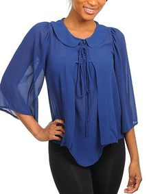 Take a look at this Royal Semi-Sheer Top by Buy in America on #zulily today!