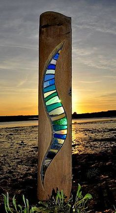 louisevdurham | Stripes Stained glass framed by drift wood