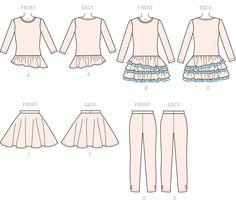 765965da9f7a2 M7274 | Children's/Girls' Tops, Dress, Skirt and Leggings Sewing Pattern