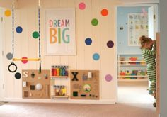 Colorful, fun, interactive playroom! #love