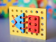 Geometric shapes, wooden lacing, wooden toys, wood puzzle, ecofriendly handmade toys for babies, children, kids, boys and girls. $15.88, via Etsy.