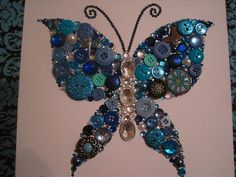 Swarovski Crystal and Button Art: Butterfly via Etsy