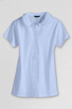 School Uniform Short Sleeve Peter Pan Knit Top from Lands' End This is my junior high uniform top!