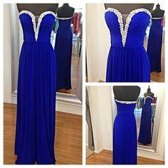 Long Real Blue V-neck Sweetheart Prom Dress Floor-length Cheap Bead Custom Prom Dresses Graduation Dress Formal Dress Homecoming Dress 2014 on Etsy, $139.99