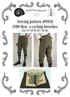 Edwardianische Herren Fahrradhose um 1890 Schnittmuster #0316 Größe EU 44-58 PDF Download von BlackSnailPatterns auf Etsy