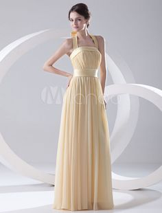 9ac64e0453a Grace Floor-Length Daffodil Bridesmaid Dress with Halter Sheath Draped  Chiffon  Daffodil