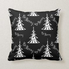 Shop Black and White Christmas Trees Contemporary Throw Pillow created by oldechristmasshoppe. Black Christmas Decorations, White Christmas Trees, Ribbon On Christmas Tree, Christmas Tree Themes, Vintage Christmas Ornaments, Pink Christmas, Christmas Mantles, Ornaments Ideas, Christmas Villages
