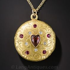 Victorian Garnet, Ruby and Diamond Locket - Antique & Vintage Necklaces - Vintage Jewelry Victorian Jewelry, Antique Jewelry, Vintage Jewelry, Vintage Lockets, Vintage Necklaces, Jewelry Necklaces, Garnet Jewelry, Silver Jewelry, Engraved Locket