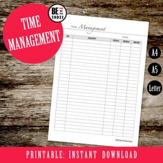 Monthly Time Management, Printable Time Tracking Page, Project Planner, Daily Working Hours, Daily Agenda, A4, A5, Letter, Filofax Printable Student Planner, Financial Planner, Goals Planner, Budget Planner, Weekly Planner, Time Management Printable, Printable Planner, Printables, Daily Agenda