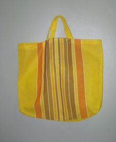 Vintage Woven Plastic MARKET Shopping Beach TOTE Bag XL, Sunshine Yellow Stripes by curiouskitty, $18.00