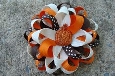 Fall Hair Bow Thanksgiving Hair Bow Pumpkin Hair Bow Hair Clip. $6.00, via Etsy.