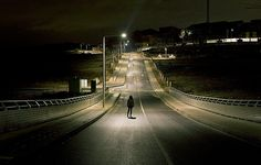 There is something completely and inherently creepy about an empty road, especially in the city, at night