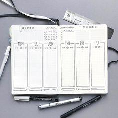 Bullet journal weekly layout, vertical dailies, weekly productivity tracker, weekly task tracker.   @bujoist