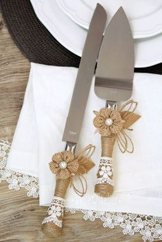 Burlap Flowers, Lace and Twine, Wedding Cake Knife Set