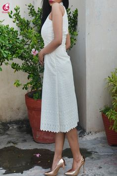 Buy Cream Cotton Chikankari Sleeveless Dress by Colorauction - Online shopping for Dresses in India Indian Outfits Modern, Indian Fashion Dresses, Dress Indian Style, Indian Wedding Outfits, Neckline Designs, Dress Neck Designs, Blouse Designs, Chicken Clothes, Simple Kurti Designs