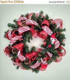 ON SALE Christmas wreath Snowmantraditional by ArtForYourHeartShop