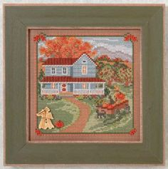 "MH144203 -  Harvest Home - Country Lane Series -   Buttons and Bead Kits  Autumn Series - Kit Includes: Beads, ceramic button, perforated paper, needles, floss, chart and instructions. 6"" x 6"" Mill Hill frame GBFRM12 sold separately. Size: 5"" x 5"""
