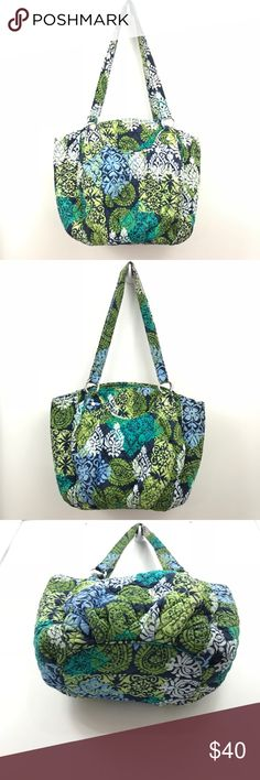 """Vera Bradley Glenna shoulder bag Caribbean Sea Bright Vera Bradley Glenna shoulder bag in Caribbean Sea pattern. There is some wear on the handle seams as shown in pictures 6 and 7. There is some tarnishing on the rings as shown in picture 8. I love the Glenna bags! They are so easy to carry and the 2 outside slip pockets are so convenient for you phone and car keys. Front and back outside slip pockets. Interior features on zip and 3 slip pockets Zip closure 8""""W x 12""""H x 5""""D with 11"""" strap drop  Sea Bright, Caribbean Sea, White Patterns, Fashion Design, Fashion Tips, Fashion Trends, Vera Bradley, Teal, Blue"""