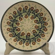 "Polish Pottery - 10"" Dinner Plate - Green Floral Vine 