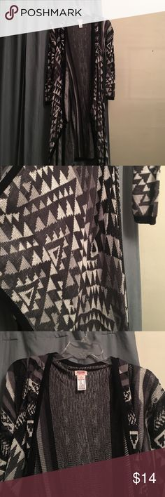 Long sweater Long black grey and white sweater. Perfect with jeans or leggings! Mossimo Supply Co. Sweaters Shrugs & Ponchos