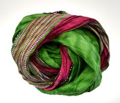 Green Infinity Scarf circle scarve recycled sari  silk by tocamade,   Turban/Gypsy head dress.