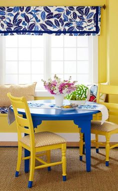 24 Easy DIY Furniture Makeovers | Midwest Living Wake up a look  Switching out industrial-look metal legs for wood means this round table is welcome in the kitchen. A bright coat of paint wakes it up even more. Pair it with chairs repainted in coordinating colors completes the ensemble.