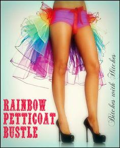 Petticoat Bustle Tu Tu Rainbow , Glamper petticoat, Burlesque Bustle , Tulle Tail