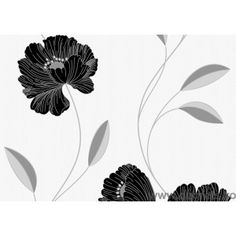 Tapet vinil  Iulia negru și alb floare