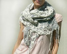 White grey scarf felted cobweb by Jane Bo, via Flickr