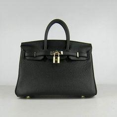Hermes Birkin Bag 25cm black gold metal