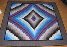 Blue Black and White Bargello Quilt by RatherBeeQuilting on Etsy, $225.00