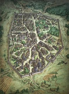 Gorgeous Carcassonne style walled city map.