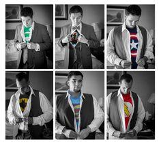 super hero wedding ideas | Superhero wedding pics Groomsmen and groom picture idea. Loved a ...