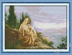100% Printed Unfinished Cross Stitch Patterns Sets Embroidery Handmade Needlework Kits,Jesus Overlooking,Big Picture(China (Mainland))