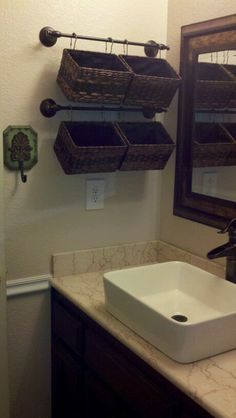 My remodeled bathroom! I used some storage ideas from right here in Pinterest! Turned out great.