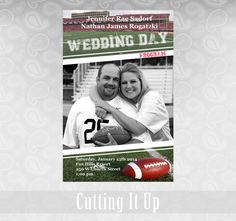 Football Wedding Program Sports Team Thank You Photo Fun Playful NFL NCAA Football Team Wedding Party Basketball Hockey Booklet Ceremony by CuttingItUp