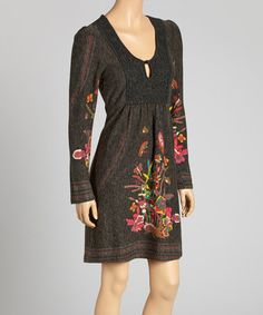 Take a look at this Black & Pink Floral Lace Yoke Dress by Aryeh on #zulily today!