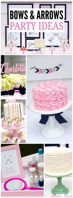 Check out this girl power bow and arrow party in pink and mint! See more party ideas at CatchMyParty.com!