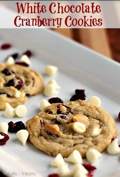 White Chocolate Cranberry Cookies ~ Soft, chewy cookies full of white chocolate chips and dried cranberries! (Because I overcommitted to dried cranberries this season! Baking Recipes, Cookie Recipes, Dessert Recipes, White Chocolate Cranberry Cookies, Chocolate Chips, Chocolate Dipped, Chocolate Desserts, Macaroons, Yummy Cookies