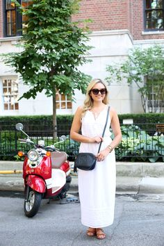 White dress+brown flat sandals+black crossbody+sunglasses. Summer outfit 2016