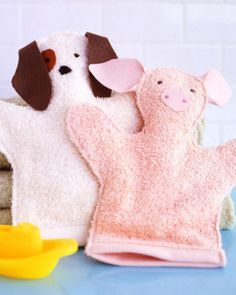 DIY Washcloth Puppets - Top 28 Most Adorable DIY Baby Projects Of All Time http://www.marthastewart.com/264331/washcloth-puppets