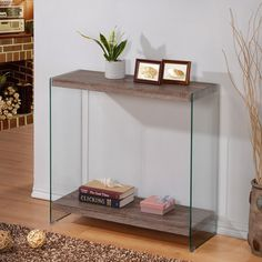 Reclaimed Wood Tempered Glass Sofa Console Shelf Table   Overstock.com Shopping - The Best Deals on Coffee, Sofa & End Tables